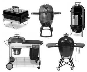 brand name bbqs, charcoal barbecues from broil king, weber, primo