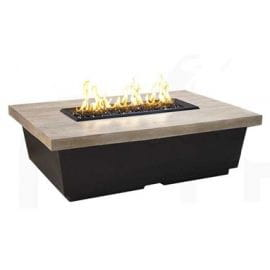 American Fyre Designs Contempo Rectangle Firetable Reclaimed Silver Pine