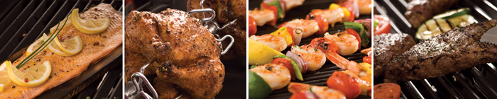 salmon, chicken, prawn skewers, and steaks cooked on your broil king gas barbecue